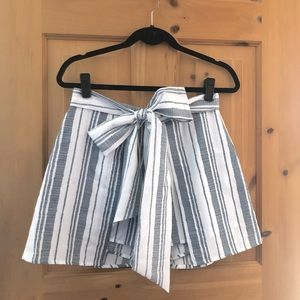 Blue and White Striped Skort w Bow Tie Front
